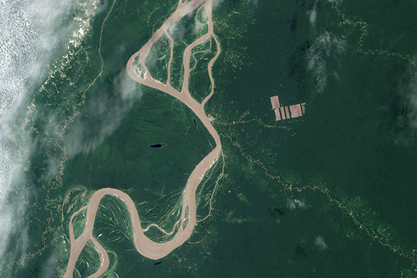 Deforestation in Peruvian Amazon, NASA Satellite imagery.